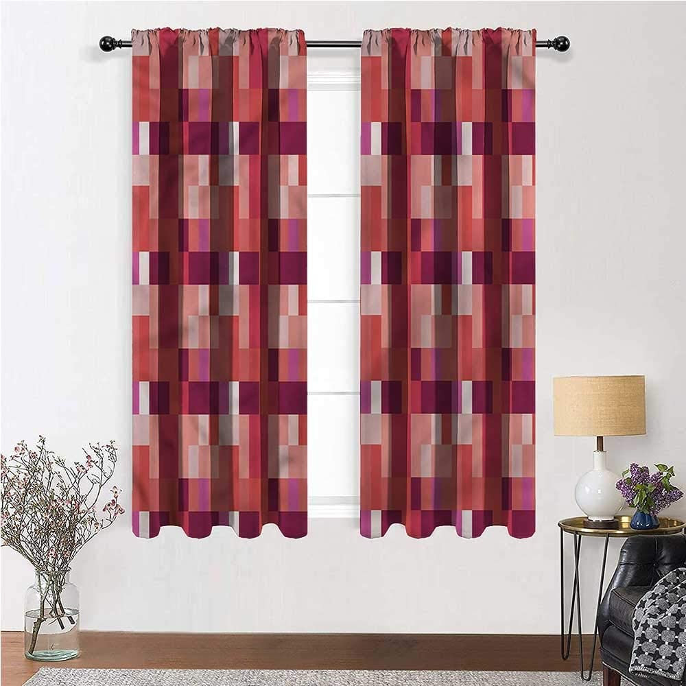 living room curtains sets peach print