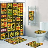 SOCOMIMI 5 Piece Bath Rug Set,Warning Ufo Signs with Alien ces Heads Galactic Paranormal Activity Print Bathroom Rugs Shower Curtain/Bath Towls Sets