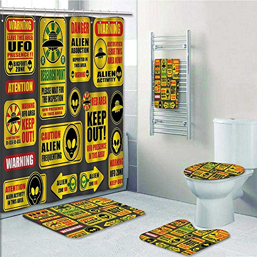 SOCOMIMI 5 Piece Bath Rug Set,Warning Ufo Signs with Alien ces Heads Galactic Paranormal Activity Print Bathroom Rugs Shower Curtain/Bath Towls Sets by SOCOMIMI