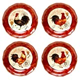 Certified International Tuscan Rooster Soup/Cereal Bowls, 8.75-Inch, Assorted Designs, Set of 4 by Certified International