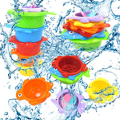 LLJEkieee 1 Set Toy Stacking Cups Sea Animals Indoor Outdoor Beach Fun Bathtub Fun Toy for Water Play Help Kids Learning to Identify and Sort Colors