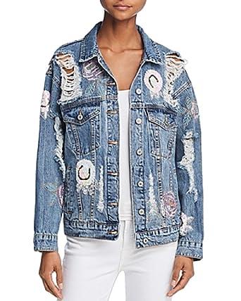 5343338f7a869 Sunset & Spring Distressed & Destroyed Sequin-Appliqué Denim Jacket at  Amazon Women's Coats Shop