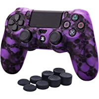 YoRHa Water Transfer Printing Skull Silicone Cover Skin Case for Sony PS4/slim/Pro Dualshock 4 Controller x 1(purple) With Pro thumb grips x 8