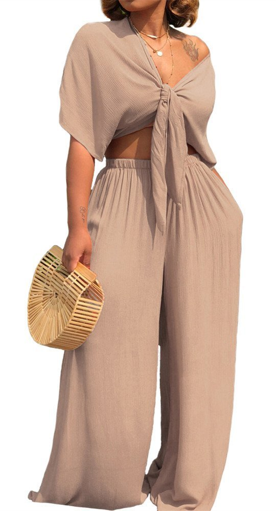 Gludear Women 2 Piece Outfits Sexy Crop Top and Long Pants Wide Leg Jumpsuit,Apricot,XXL