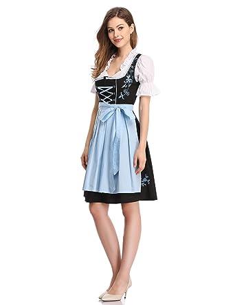 7cc3cd2f4c2 Femme 3 pieces Robe Dirndl Set Susi Costume bavarois pour Oktoberfest Fete  D Octobre Carnaval