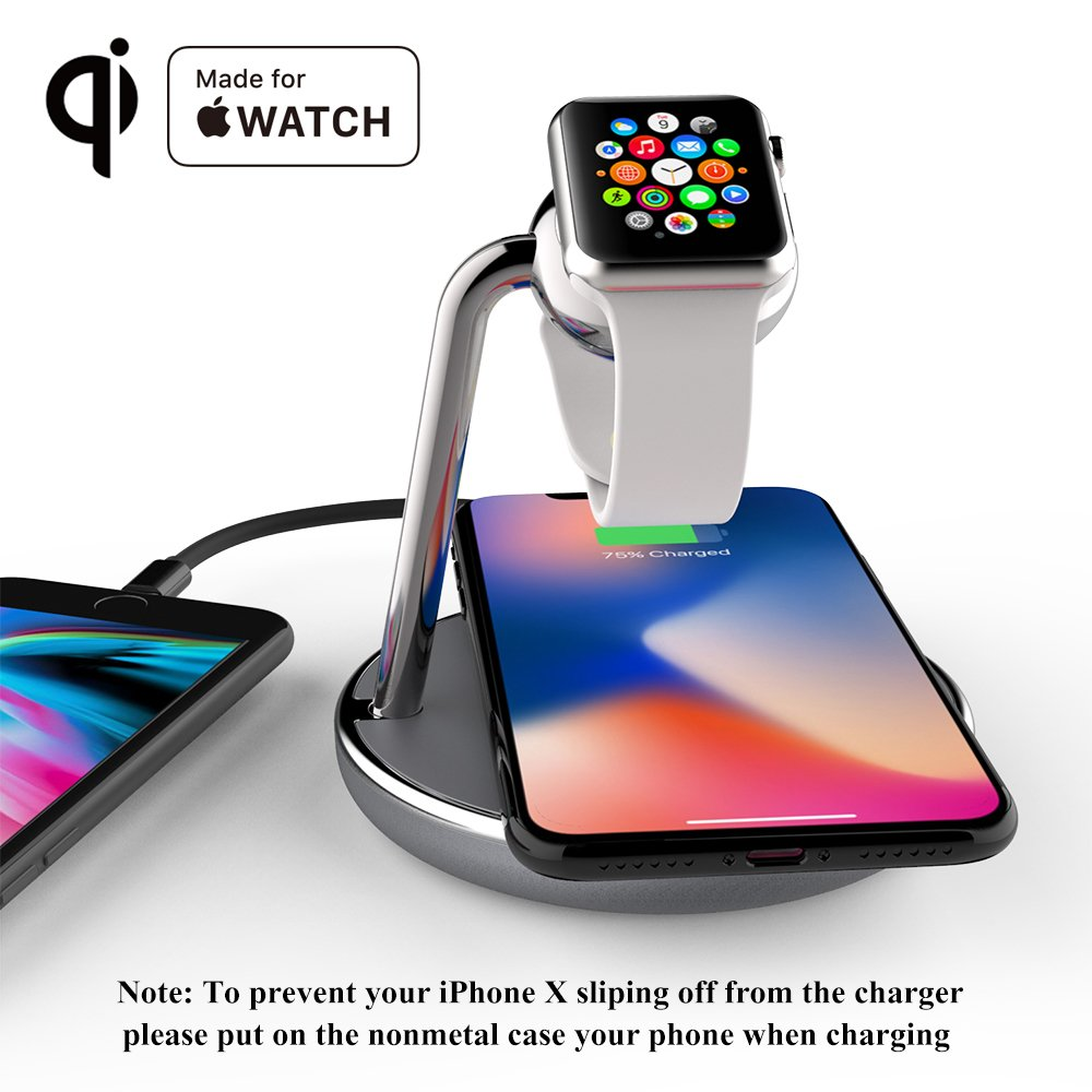 Mangotek Wireless Phone Watch Charger Pad, 3 in 1 Charging Station for iPhone 8/8 Plus/X/X Max/X R and Apple Watch iWatch 4/3/2/1, 38mm/40mm/42mm/44mm by Mangotek (Image #4)