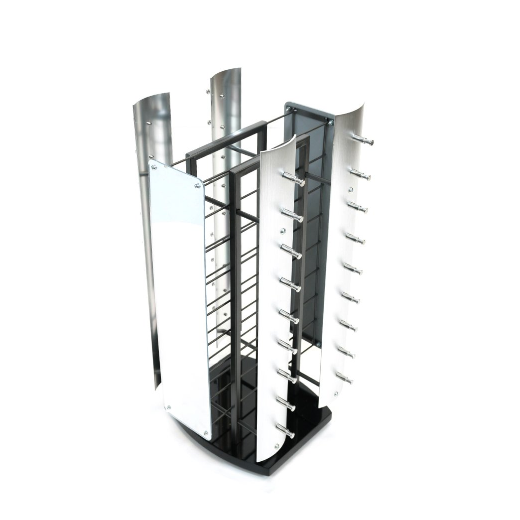 2-Sided Spinning Counter Sunglass Display, Holds 36 Sunglasses, Wood Base, Metal Frame, Chrome Nosepieces, and 2 Mirrors