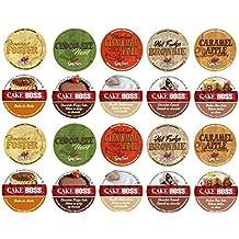 20 Cup Cake Boss® & Guy Fieri® Flavored Coffee Sampler! 10 Unique! New Flavors! Chocolate Cannoli, Italian Rum Cake, Hot Fudge Brownie, Bananas Foster+