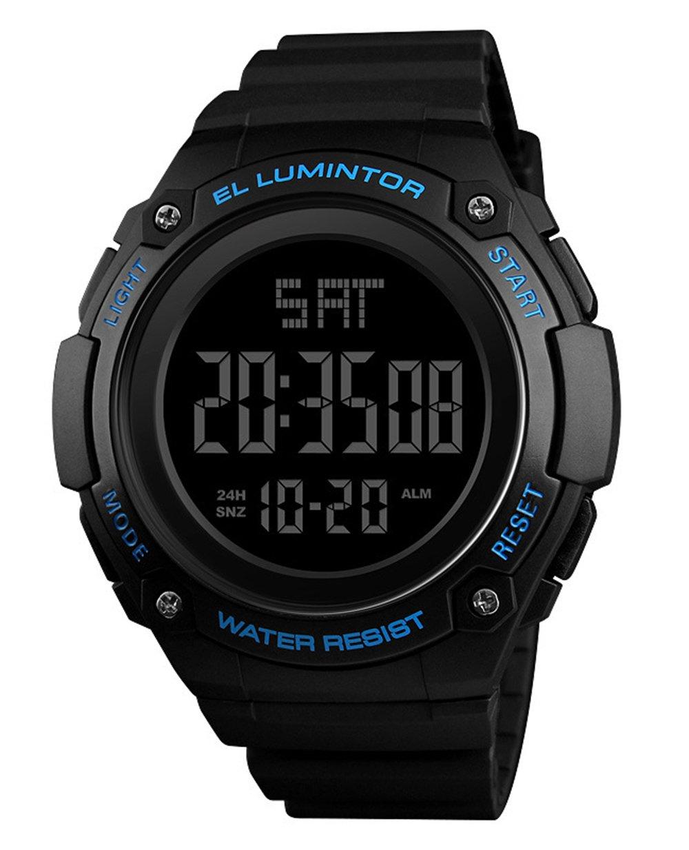 メンズアウトドアスポーツウォッチ高級ブランドメンズLEDデジタル腕時計日付防水時計大きなダイヤルミリタリー腕時計 54mm ブルー B07DKRHFQ6 ブルー ブルー