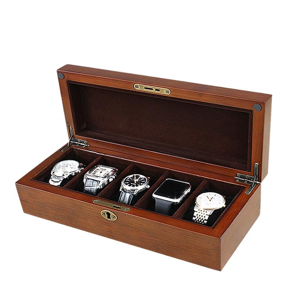 オーク時計ボックス、5 Watchコレクションストレージボックス B07B2B2BB6