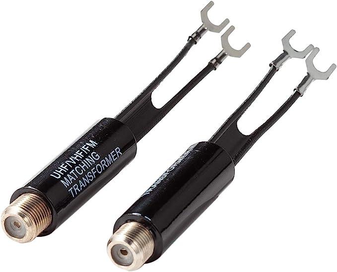 Transformador A Juego de 75 A 300 Ohm, Convertidor de Balun para Antena y Cable Coaxial en Receptor de TV Sintonizador de Radio Paquete de 2