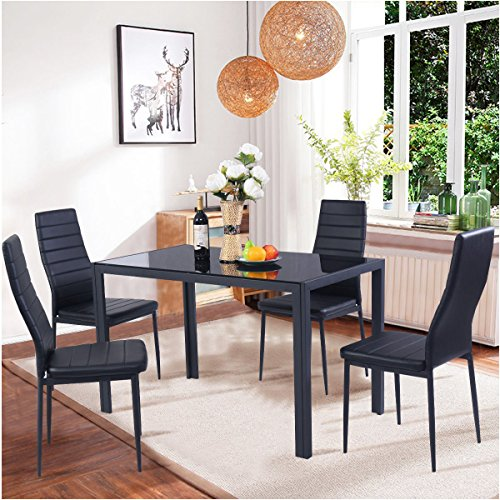 5-Piece Home Dining Kitchen 4 Person Furniture Set with Glass Top Metal Leg & Frame, Black