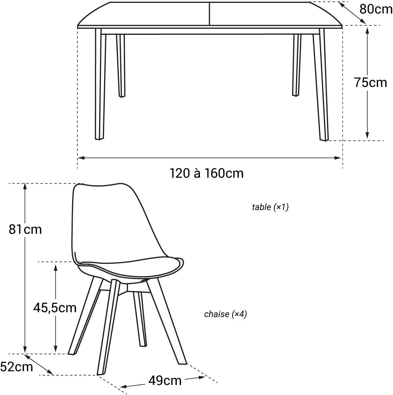 Happy Garden Ensemble Table Extensible 120//160cm et 4 chaises scandinave Blanc Nora
