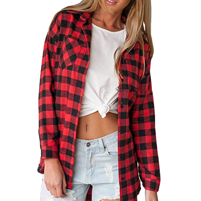 c4e7a267 Clmbyrnm Women's Plaid Flannel Shirt Long Sleeves Button Down Blouse at  Amazon Women's Clothing store: