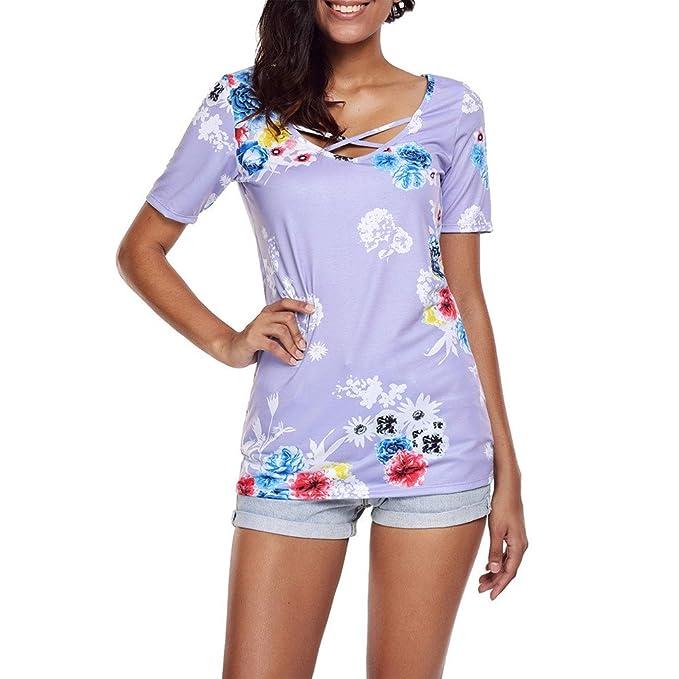 Blusa Mujer,riou Top de Manga Corta con Estampado Cruzado en el Pecho para Mujer elástico y cómodo Casual Suelto Blusa Jersey Sudadera Camisa Oficina ...