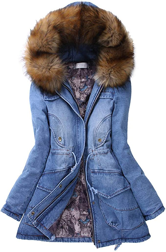 Da Donna Caldo Cappotto imbottito Piumino imbottito cotone collo in pelliccia Outwear Con Cappuccio Regalo
