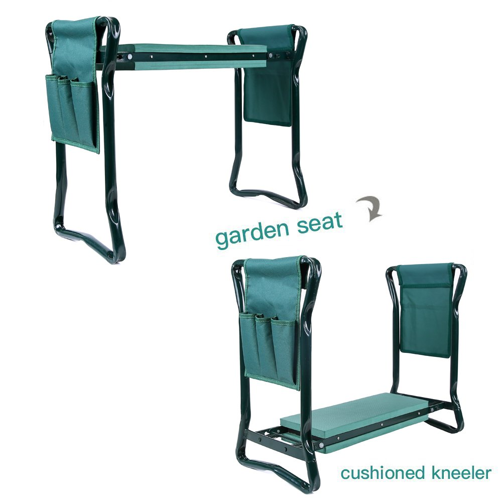 Garden Kneeler and Seat with Storage Pouches