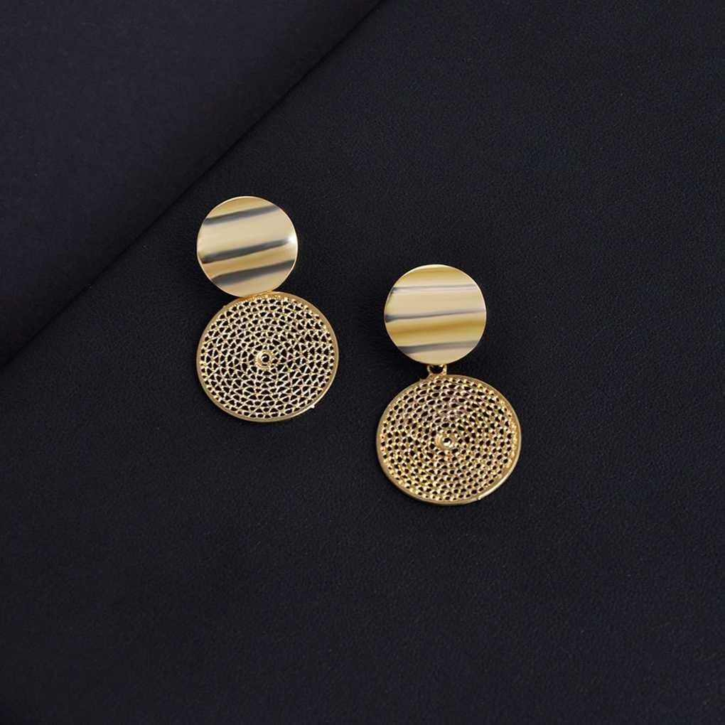 Techting 1 paire luxe /évider Dangle Boucles doreilles femmes fille ronde Boucles doreilles vintage ethniques du Parti exag/éraient Anneaux doreille