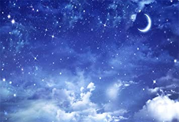 Aofoto Blue Sky Starry Night Backdrop 7x5ft Universe Nebula Clouds Glitter Stars And Moon Baby Dream Background For Photography Kids Newborn Baby