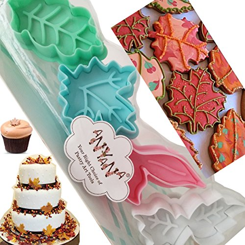 4Pcs Plunger leaf cookie press Cutters biscuit Mold cake decorating supplies Fondant embosser Decoration edible Anyana baking stamp christmas fall pie crust decoration