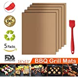 Grill Mat, 100% Non-stick BBQ Grill Baking Mats 5 Sets with Brush, FDA Approved, Reusable and Easy to Clean Barbecue Grilling Accessories Grilling Mat, Works on Gas, Charcoal, Electric Grill(Gold)