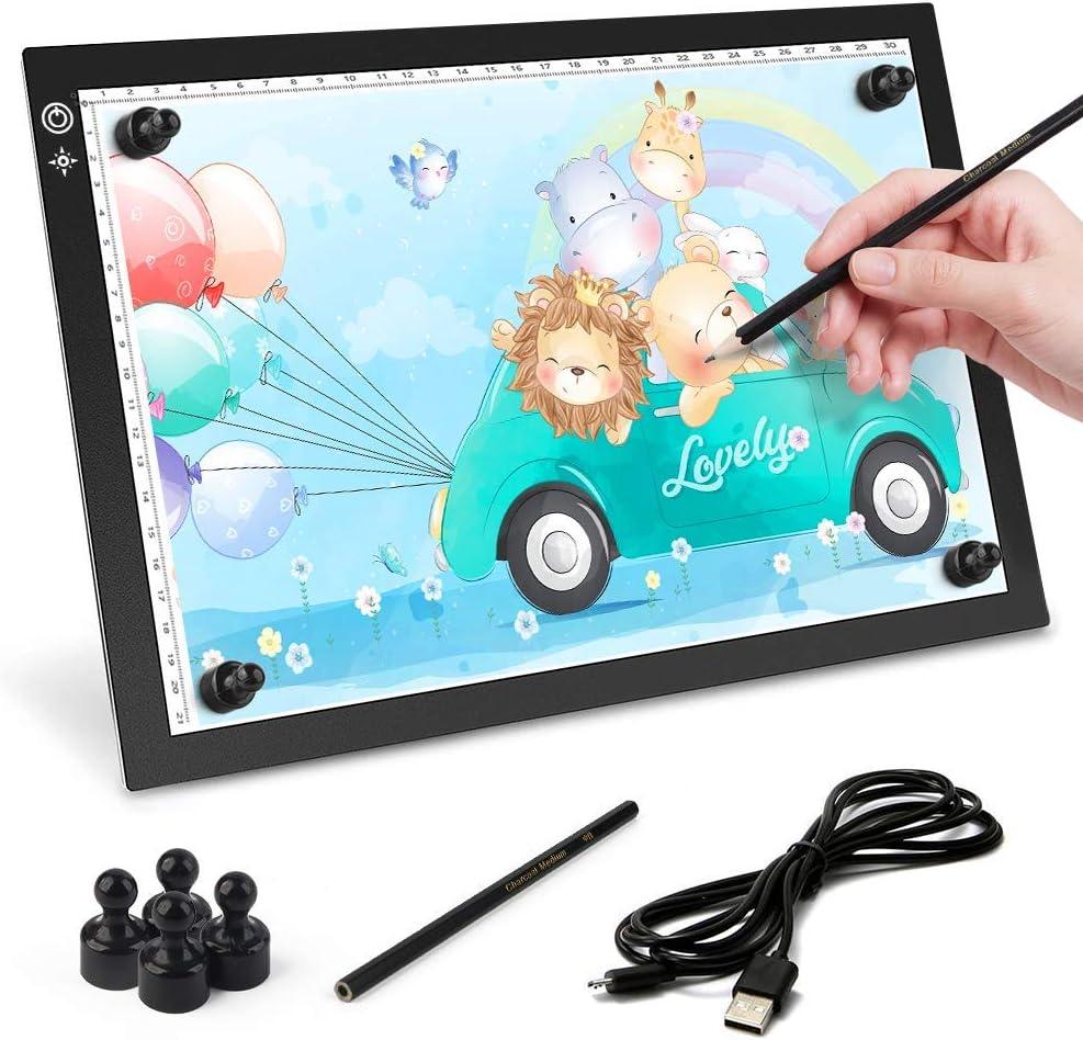 EZGETOP Licht Pad A4 LED Leuchttisch Leuchtplatte Dimmbare LED Pad Ultradünne Tragbare Lichtkasten Copy Board mit USB Kable für Zeichnen Animation Malen Skizzierung Schablonieren Designen (A4-Top)