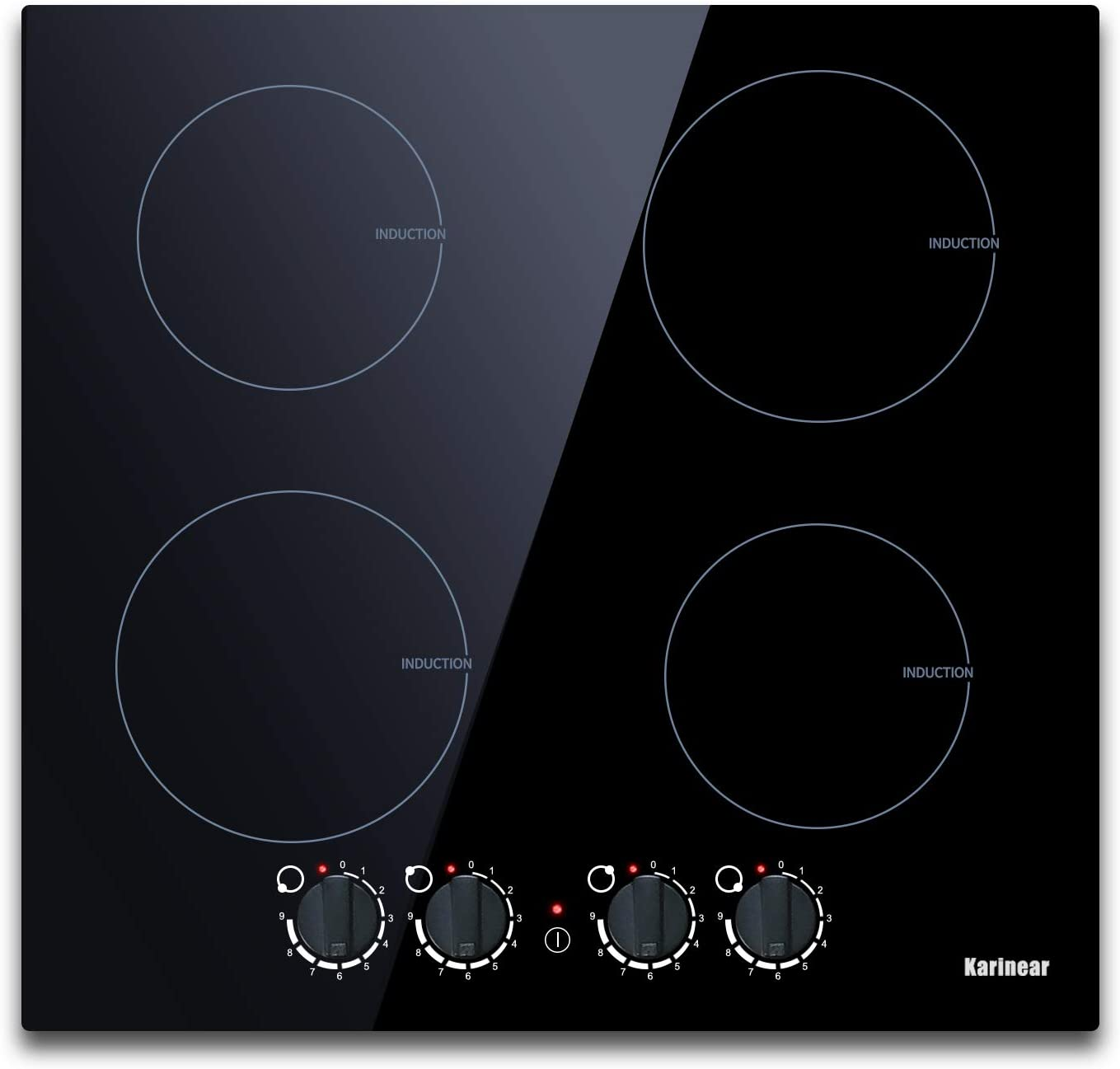 Induction Cooktop 4 Burner, 7000W Electric Induction Cooker Kitchen Countertop Burners with Electronic Knob Control, Built-in Induction Stovetop Hard Wired, 9 Power Levels.