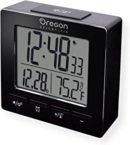 Oregon Scientific RM511A Portable Radio Controlled Alarm Clock, Dual Alarms, Indoor Temperature, Snooze Function, Time and Date Display, Black
