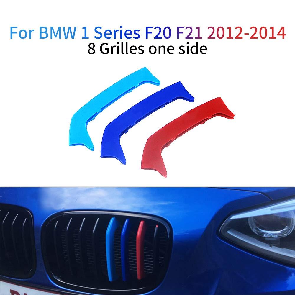 11 Rod M colore Adesivi per griglia anteriore Clip di Grille del rene Grill Inserire copertine Per 1 Series 116i 118i 120i 2012-2014 3 Pezzi