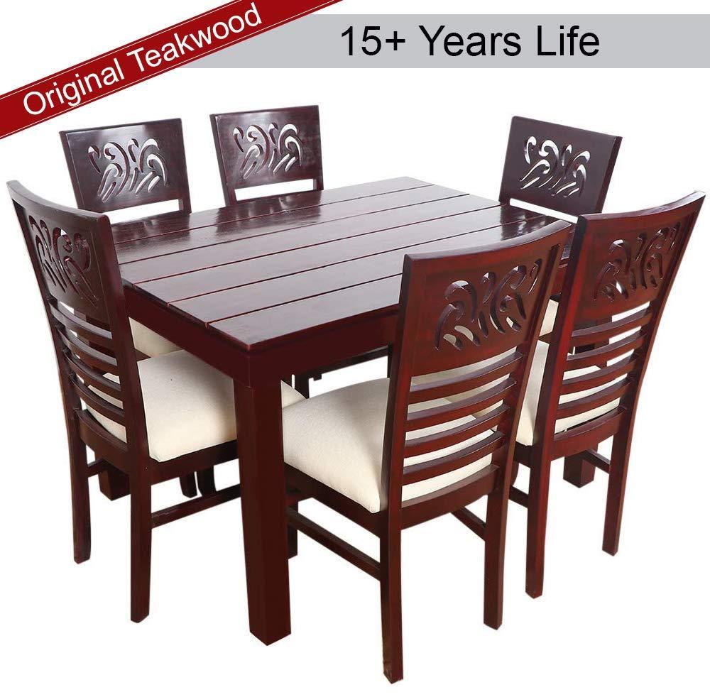 Furny Mink Teak Wood Dining Table Set 6 Seater - Mohagany Polish
