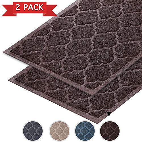 Flamingo P 35 x 23 inch 2 Pack Dirt Trapper Mats Kitchen Mat or Entry |Indoor Door Mat | Outdoor Front Entryway Rug | Non Slip - Machine Washable - Brown