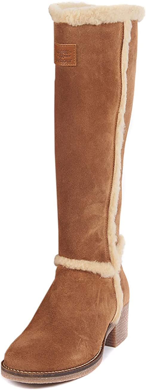 Womens Barbour Molly Fashion Suede Fur Trim Knee Block Heel Boots
