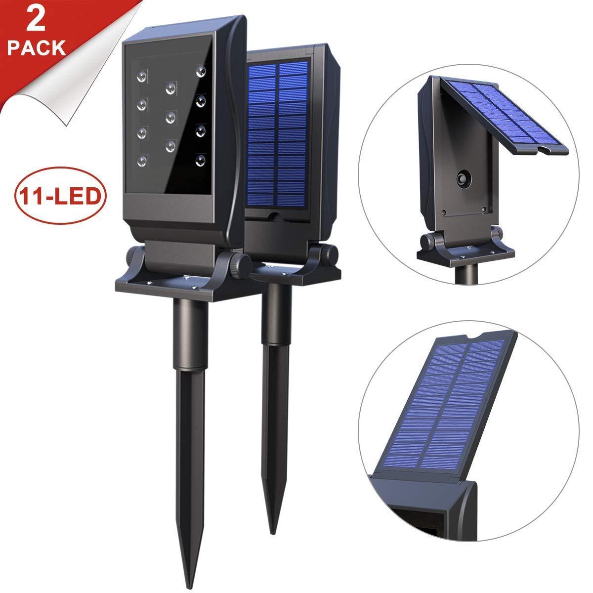 Avaspot Solar Spotlights Outdoor, 2 Pack 11 LED Solar Lights, Waterproof Solar Landscape Lights, 180°Adjustable Outdoor Security Lighting 2-in-1 Solar Wall Light for Patio Yard Driveway