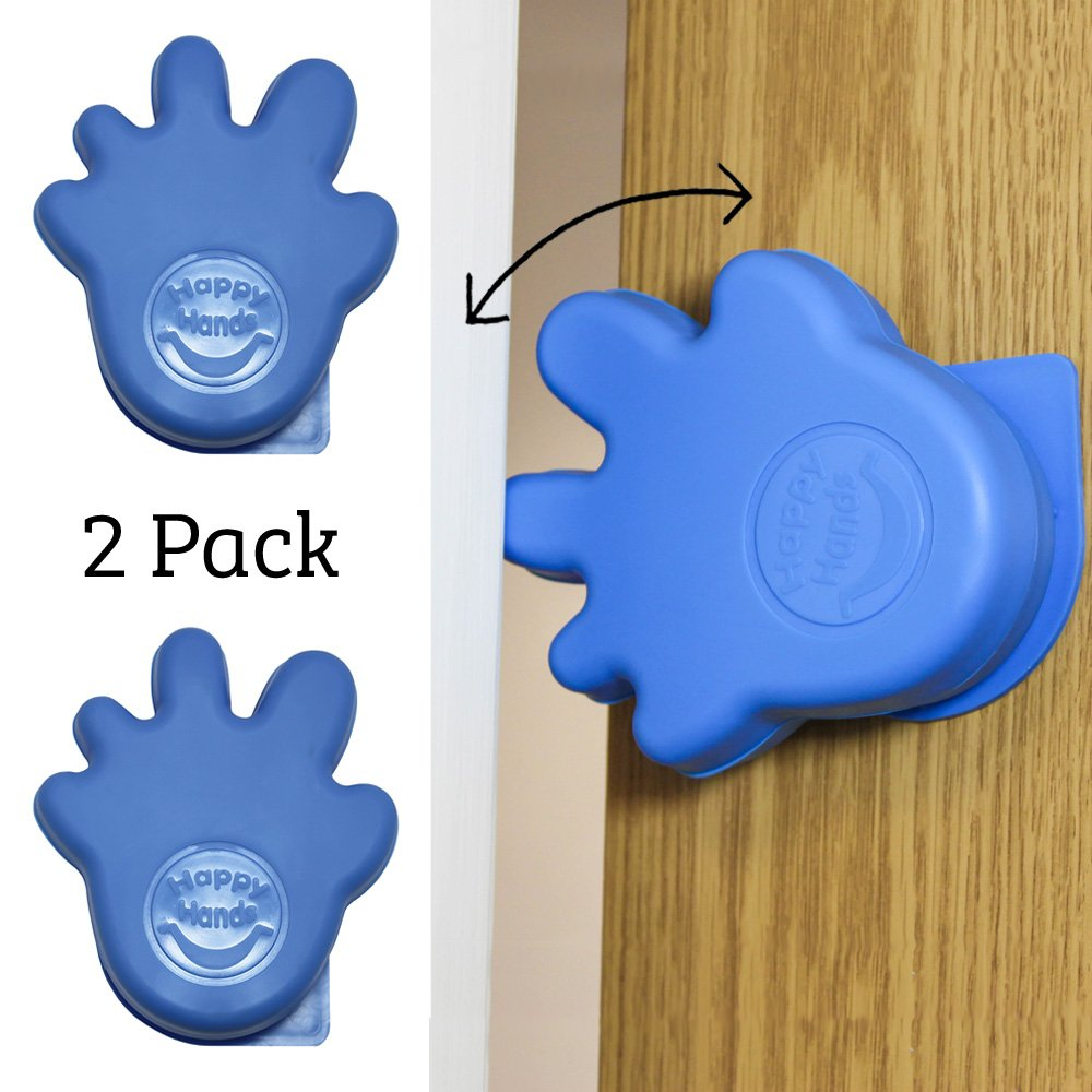Happy Hands Anti Slam Child Door Safety Finger Trap Stoppers - 2 Pack … (Blue)