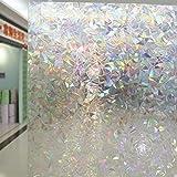 3Ft X 6.5Ft.(90 x 200cm) Leyden Cut Glass Geometric No-Glue 3D Static Decorative Glass Window Films