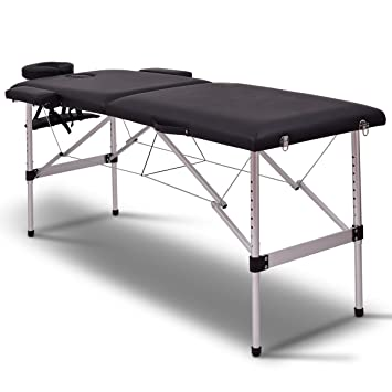 Giantex 72u0026quot;L 2 Section Portable Massage Table Aluminum Facial SPA Bed  Tattoo W/