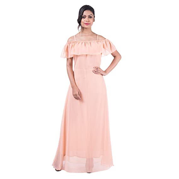 Mamosa Peach Georgette Spagetti Cold Shoulder Long Gown gown for ...