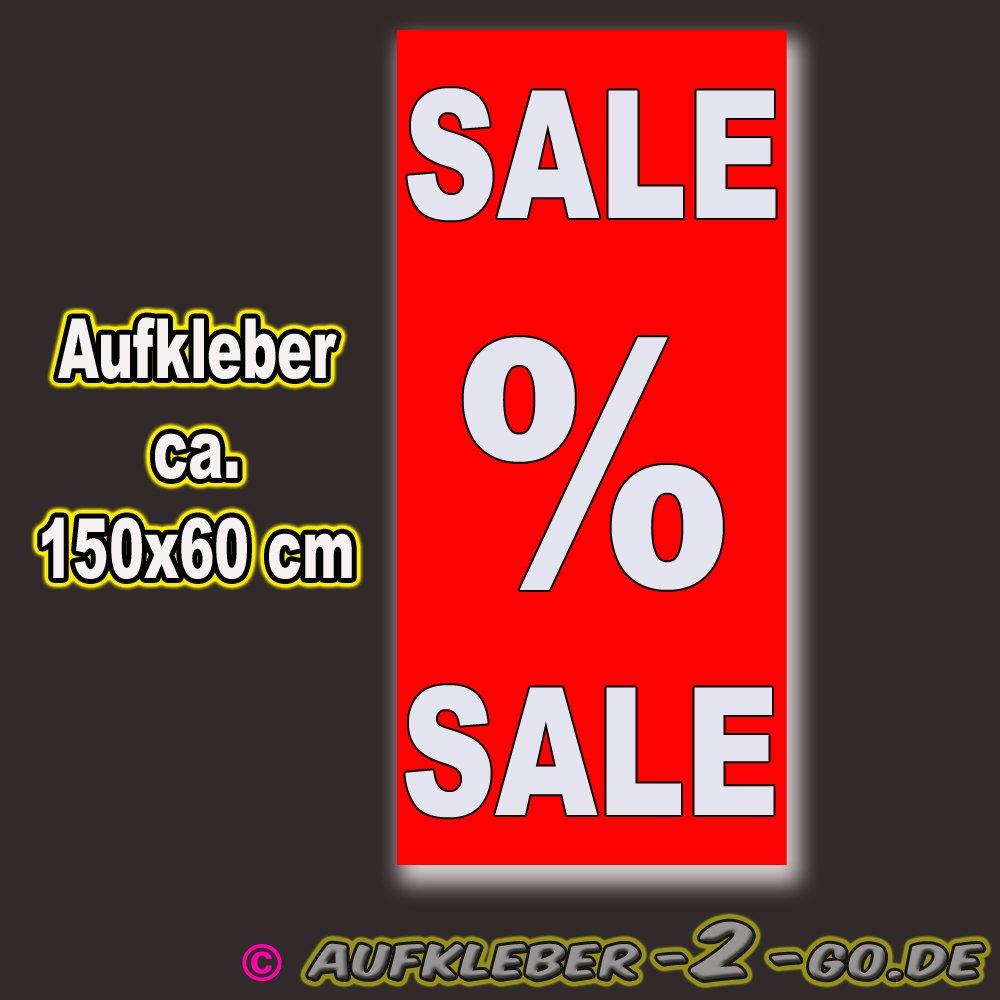 SALE % SALE Aufkleber 150x60cm zweifarbig Rabatt % Aufkleber Schaufensterbeschriftung SALE