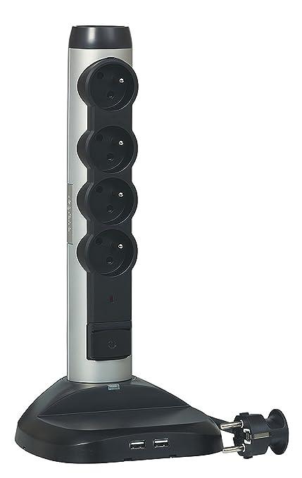 Legrand 050398 – Regleta vertical 4 tomas con tierra pararrayos integrado/cargador inducción, cable 2 m, 3500 W, 230 V, Alu/negro