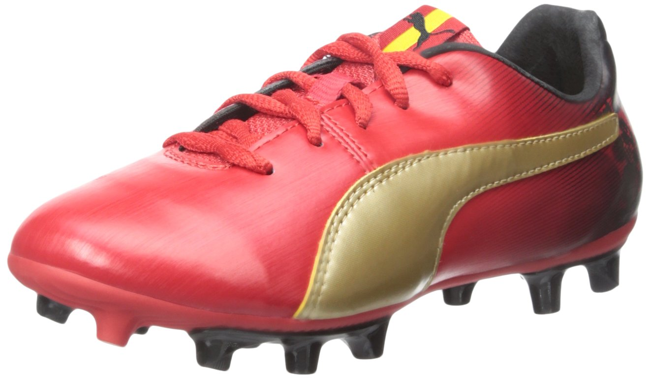 Puma Cesc V2 FG Jr Sneaker (Little Kid/Big Kid)  4 M US Big Kid|High Risk Red/Team Gold
