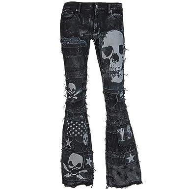 Zolimx Damen Jeans Schlaghosen Punk Cowboy, Frauen Skull Print Skinny Jean  Hose Denim Hosen Glattes 416cd16189