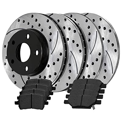 Auto Shack SMK1033PR65095 Front and Rear Set of Performance Rotors and Semi Metallic Pa: Automotive