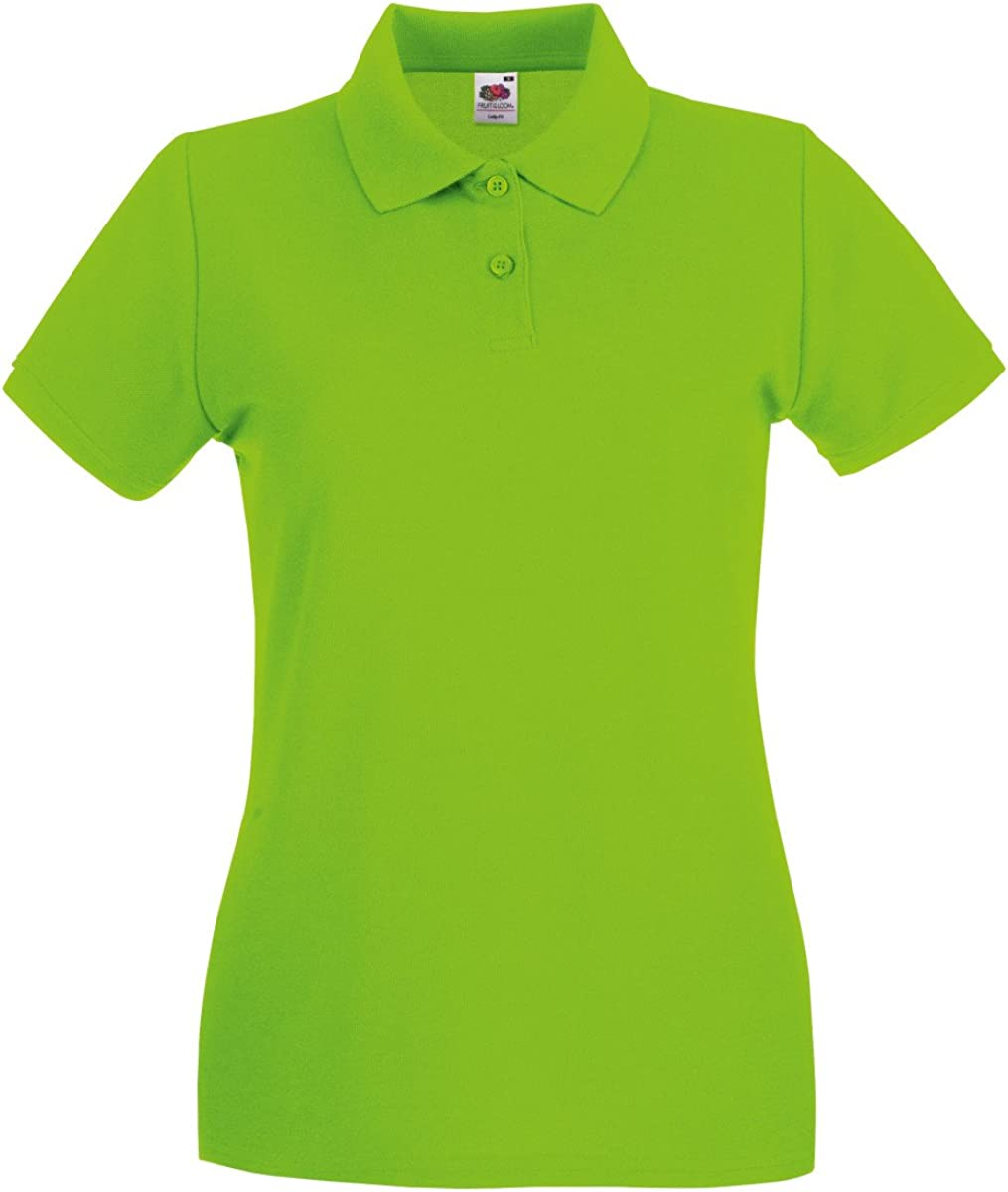 TALLA S. Camiseta tipo polo prémium de Fruit of the Loom, para mujer