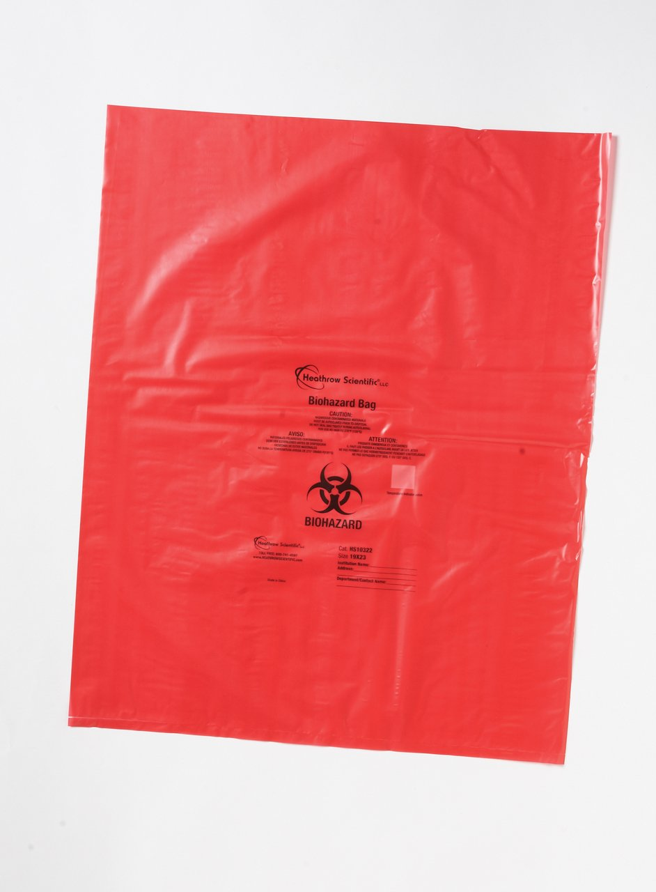 Heathrow Scientific - Biohazard Disposal Bags 25x33 inch, 1.57mil thick, 500/CS