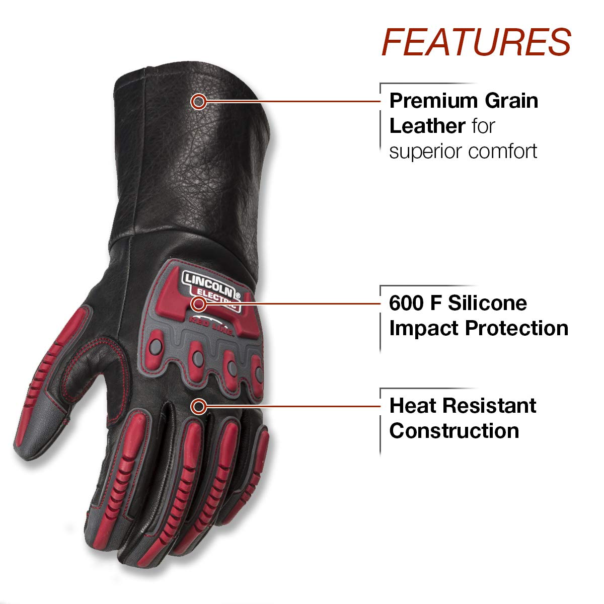 Lincoln Electric Roll Cage Welding/Rigging Gloves | Impact Resistant | Black Grain Leather | by Lincoln Electric (Image #2)