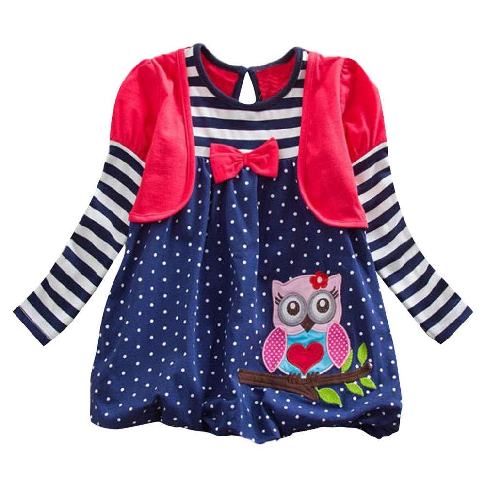 Matoen Baby Girl Long Sleeve Stripe Dot Cartoon Bow Tie Owl Party Dress Outfits