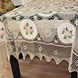 Fabulous Pastel Floral Ribbonwork Coverlet Vintage Ribbon Embroidery Tablecloth 70x106 inchHeirloom Qty Romantic Home Decoration ,Wedding Gift Xmas Idea For Sister/Mother/Friend