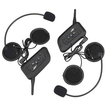 1 par V6 Bluetooth auriculares inalámbricos de comunicación de BT Multi Interphone moto accesorios 1200 m Casco Auricular con micrófono 6 Riders: Amazon.es: ...