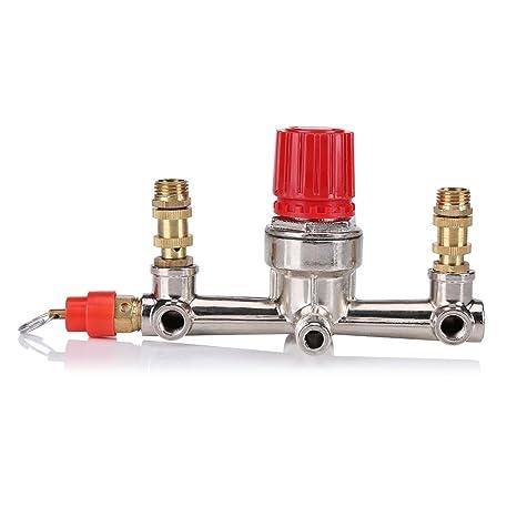 Fdit Control de Presión de Compresor de Aire con Regulador de Presión 120 PSI Válvula de