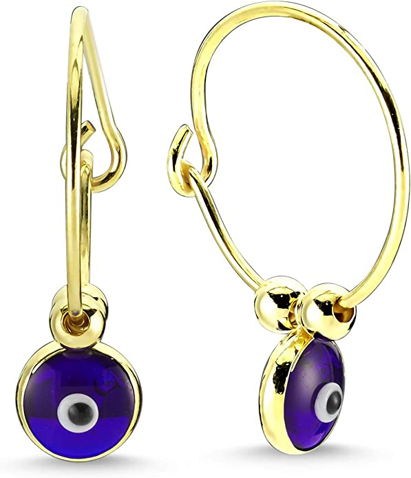 Amazon.com: 14K Gold Plated 925 Sterling Silver Evil Eye Earrings for Women, Blue Glass Evil Eye Polished Beaded Drop Dangle Hoop Earrings for Women: Clothing